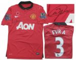 Manchester United Football Shirt Match-Worn and Signed by Patrice Evra