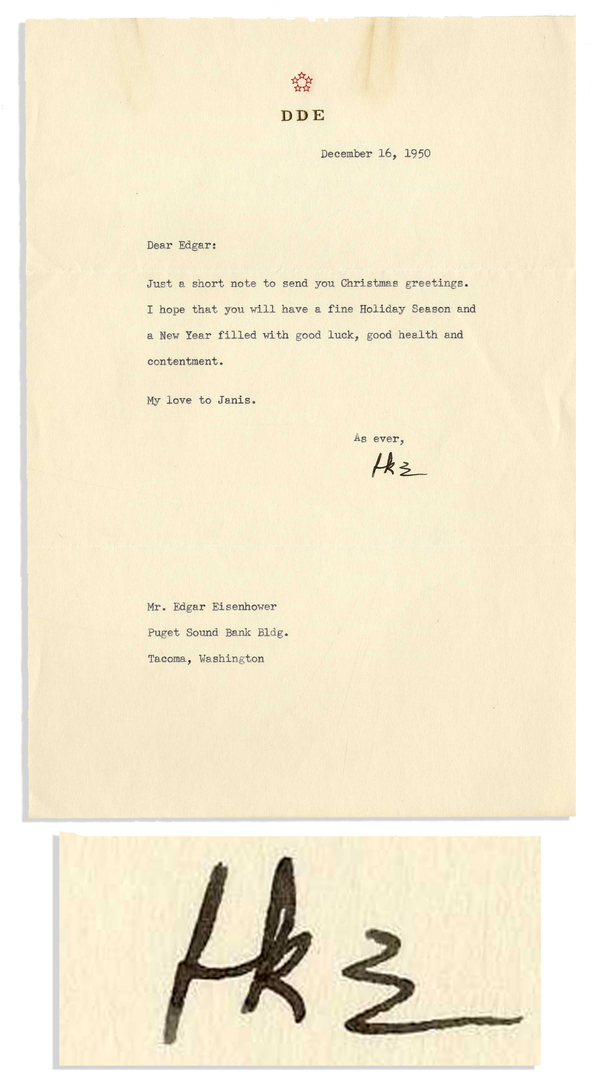 Lot detail dwight d eisenhower typed letter signed seasons dwight d eisenhower typed letter signed seasons greetings 1950 to his brother edgar kristyandbryce Gallery