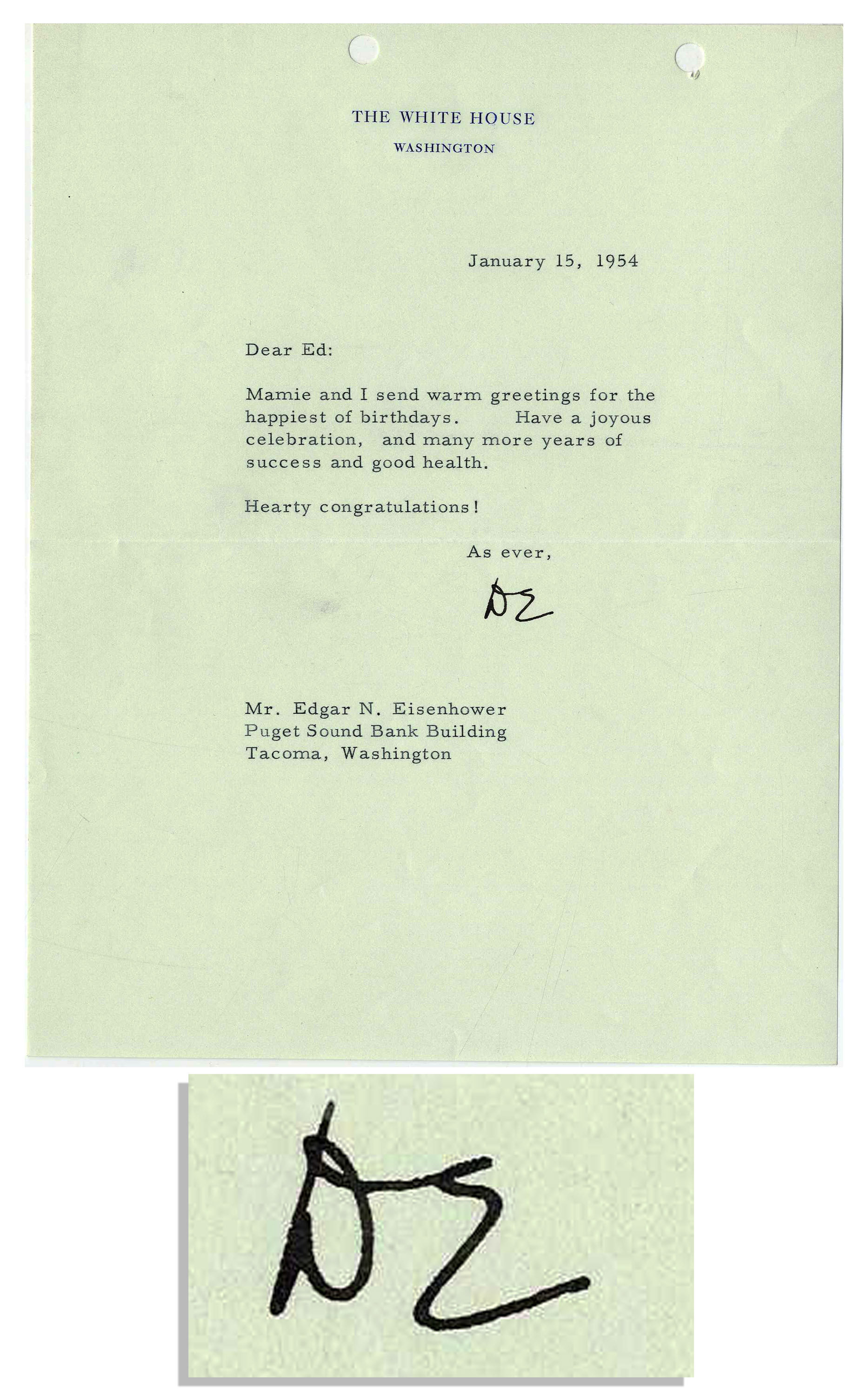 Lot detail dwight d eisenhower 1954 typed letter signed as dwight d eisenhower 1954 typed letter signed as president wishing his brother a kristyandbryce Image collections