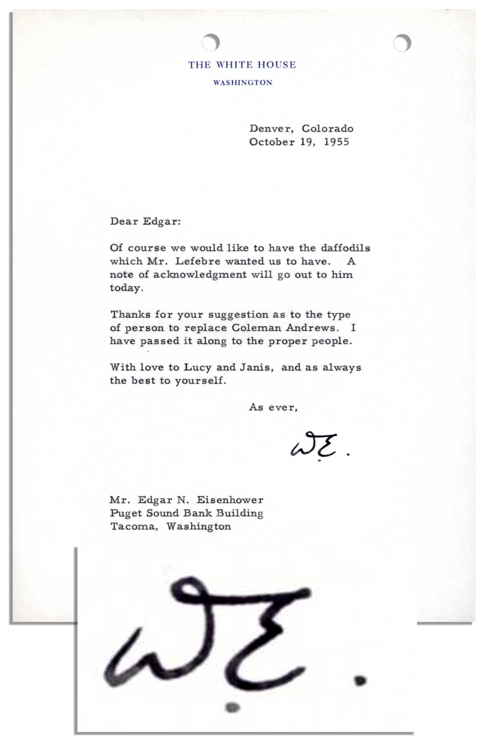 Lot Detail Dwight Eisenhower Typed Letter Signed As President