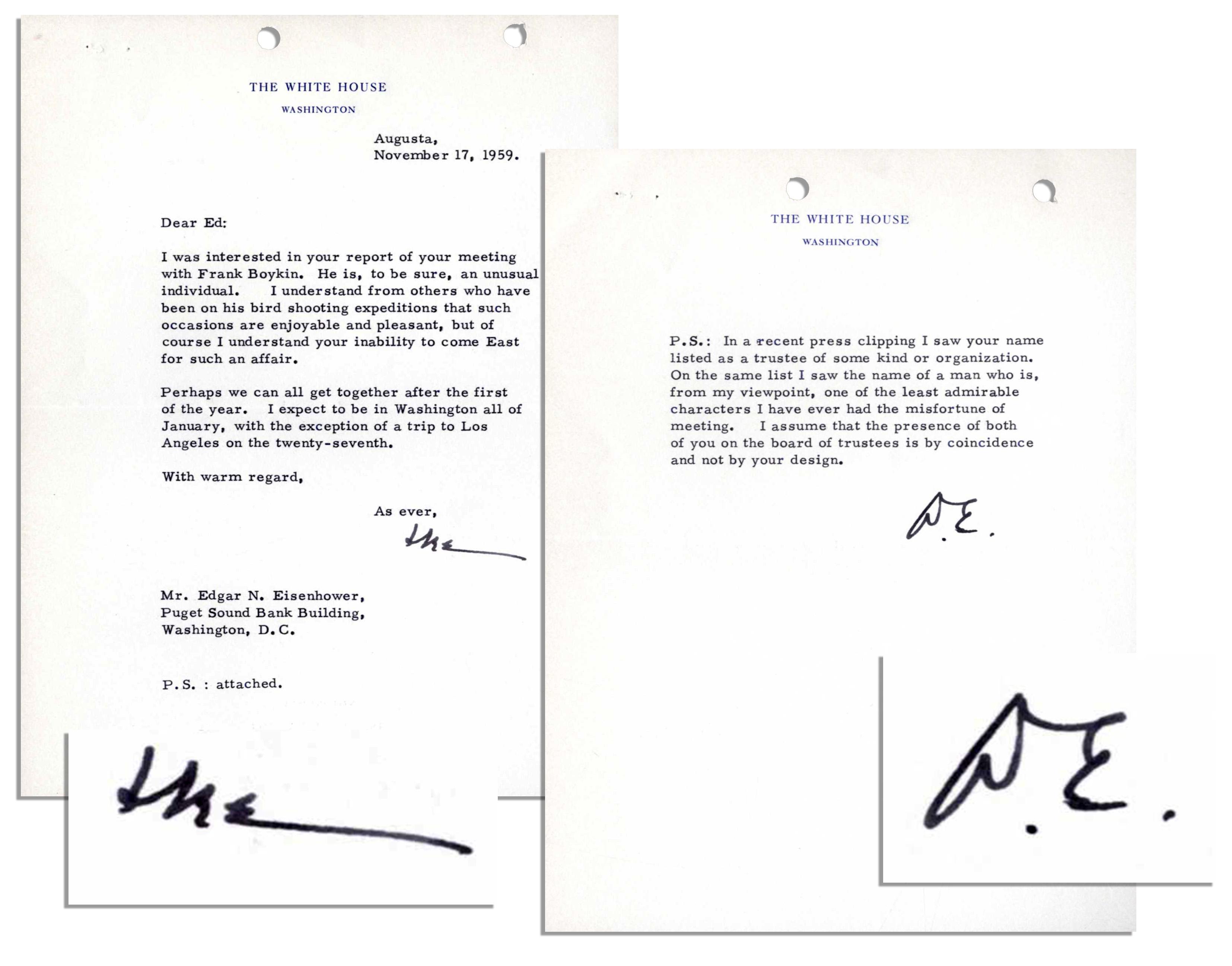 Lot Detail Eisenhower TLS as President I saw your name