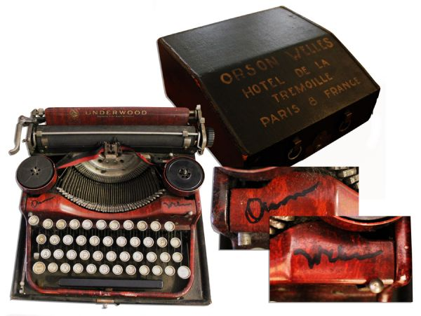 Orson Welles Memorabilia Orson Welles Signs His Personally Owned & Used Typewriter -- Used Circa 1930's-40's During the Writing of ''Citizen Kane''