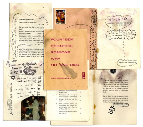 Beatles Drum Auction George Harrison's Personal, Hand-Annotated Booklet on Spiritual Regeneration Given to Ringo Starr -- With Notes on The Beatles -- ''I was in the greatest show on Earth'' -- Epperson COA
