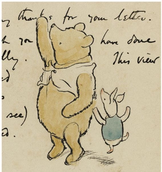 Original Ink and Watercolor Drawing by E.H. Shepard of Winnie-the-Pooh and Piglet -- Extraordinarily Scarce Drawing by Shepard of the Most Famous Children's Character