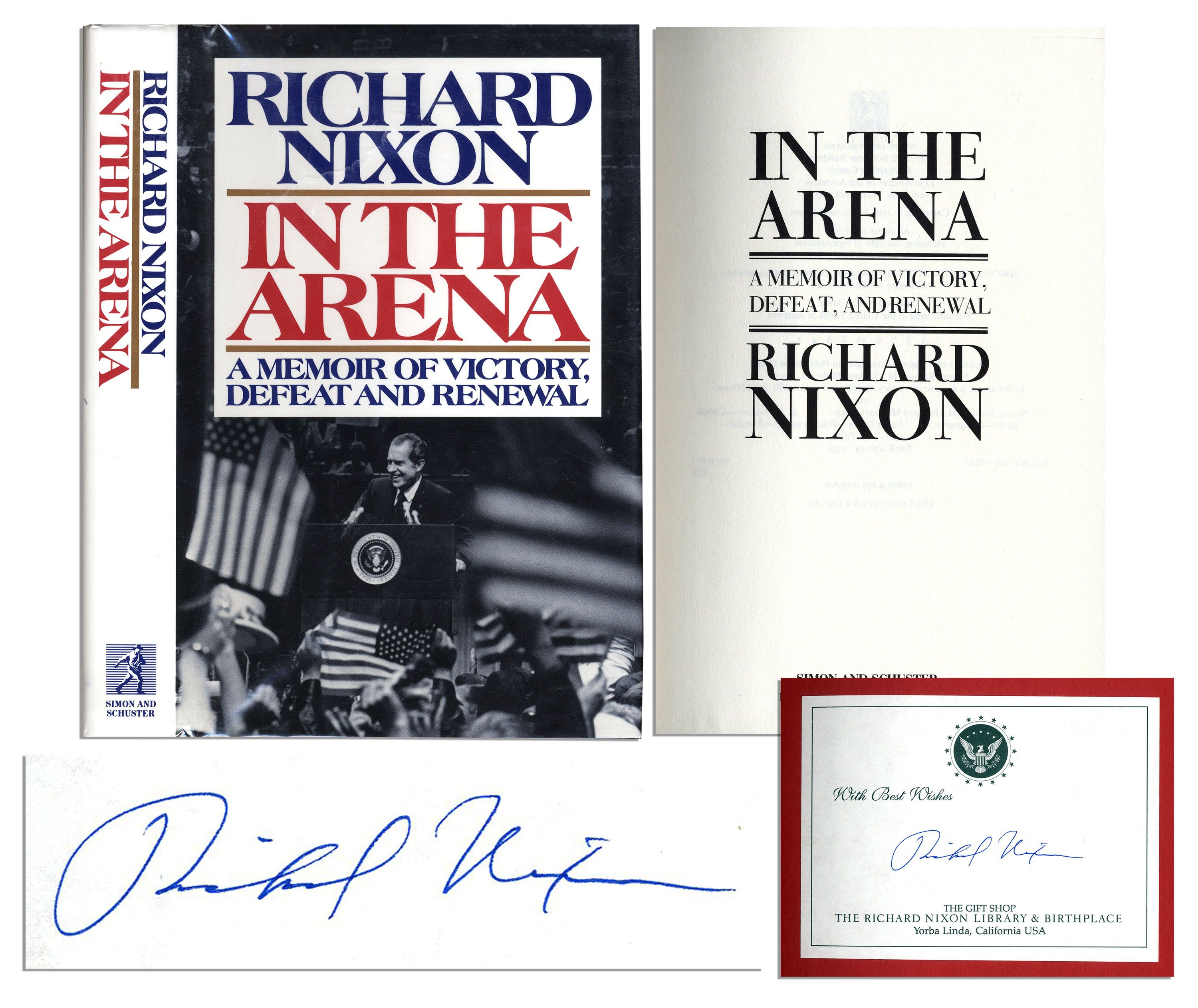 lot detail richard nixon signs a first edition of his