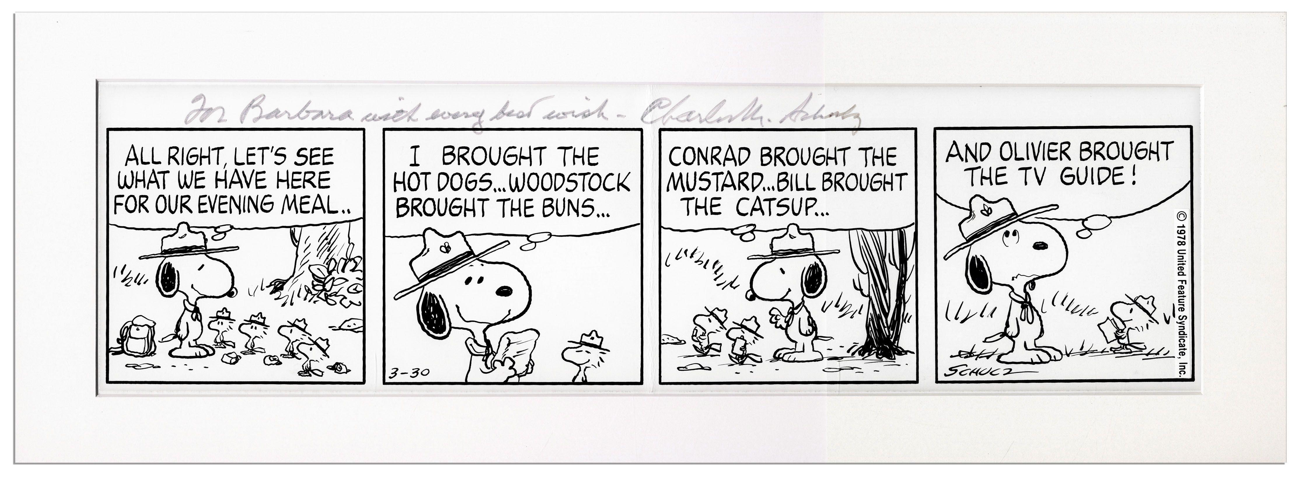 ... Charles Schulz Hand-Drawn ''Peanuts'' Four-Panel Strip --
