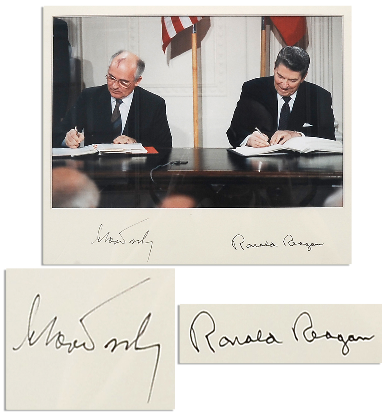 lot detail ronald and mikhail gorbachev signed photo 8 december 1987 signing of