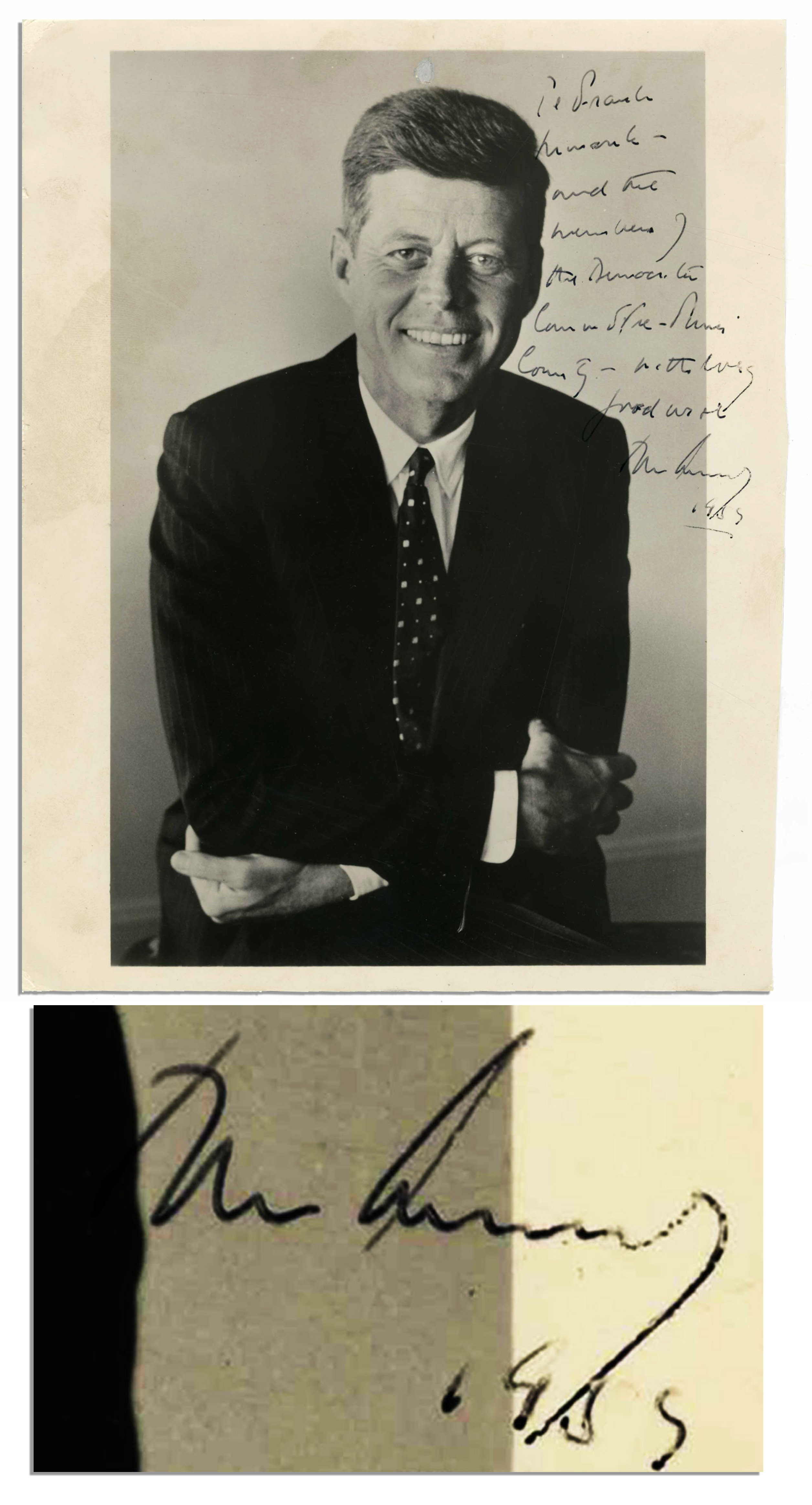 John F Kennedy Autograph John F. Kennedy 8'' x 10'' Signed Photo as U.S. Senator -- Year Before He Was Elected President -- With PSA/DNA COA