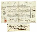 Jean-Marie Valhubert Document Signed -- General Under Napoleon -- 1800 Military Document