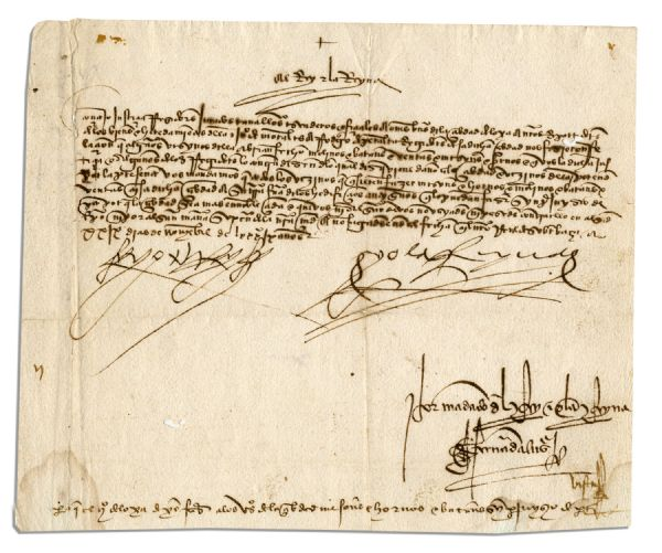 Ferdinand and Isabella autograph Ferdinand and Isabella Grant Permission to Redevelop Moorish