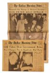 The Dallas Morning News Announces CLUB OWNER KILLS OSWALD and Second Paper LBJ Takes Over Government Reins