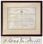 Franklin Pierce Document Signed as President