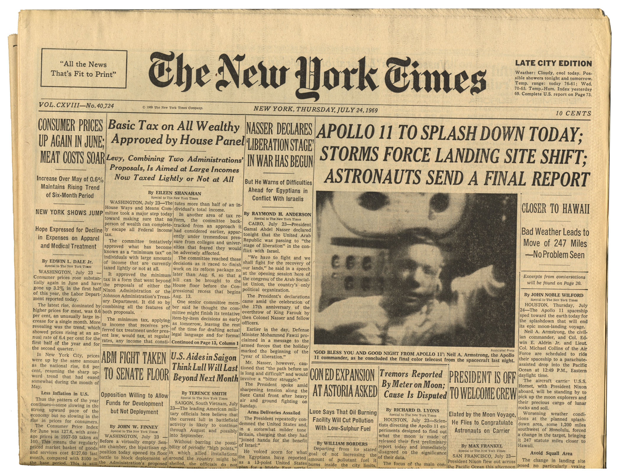 Item Detail - ''The New York Times'' From 24 July 1969 ...
