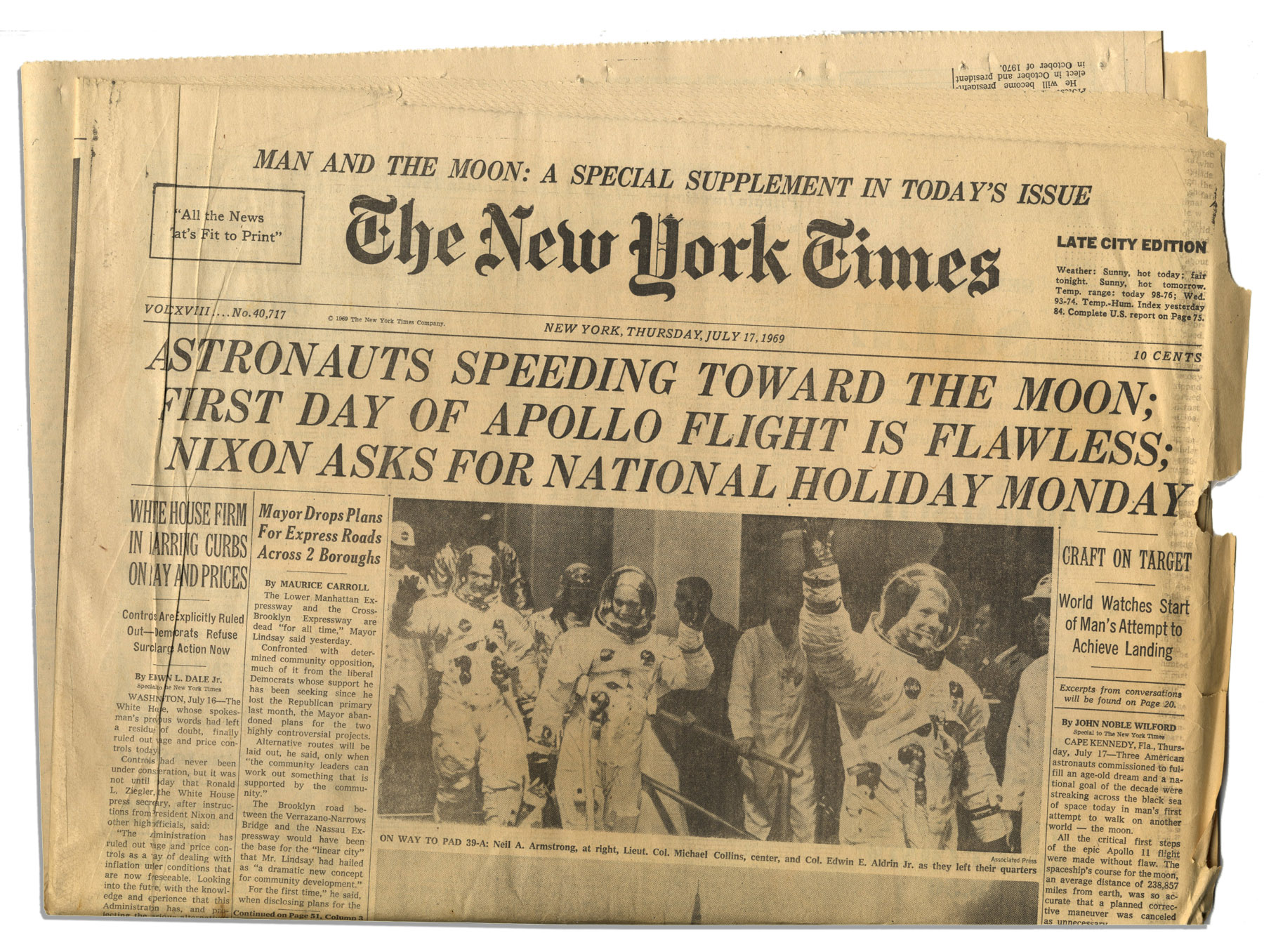 Item Detail - 'The New York Times'' Reports the Apollo 11 ...