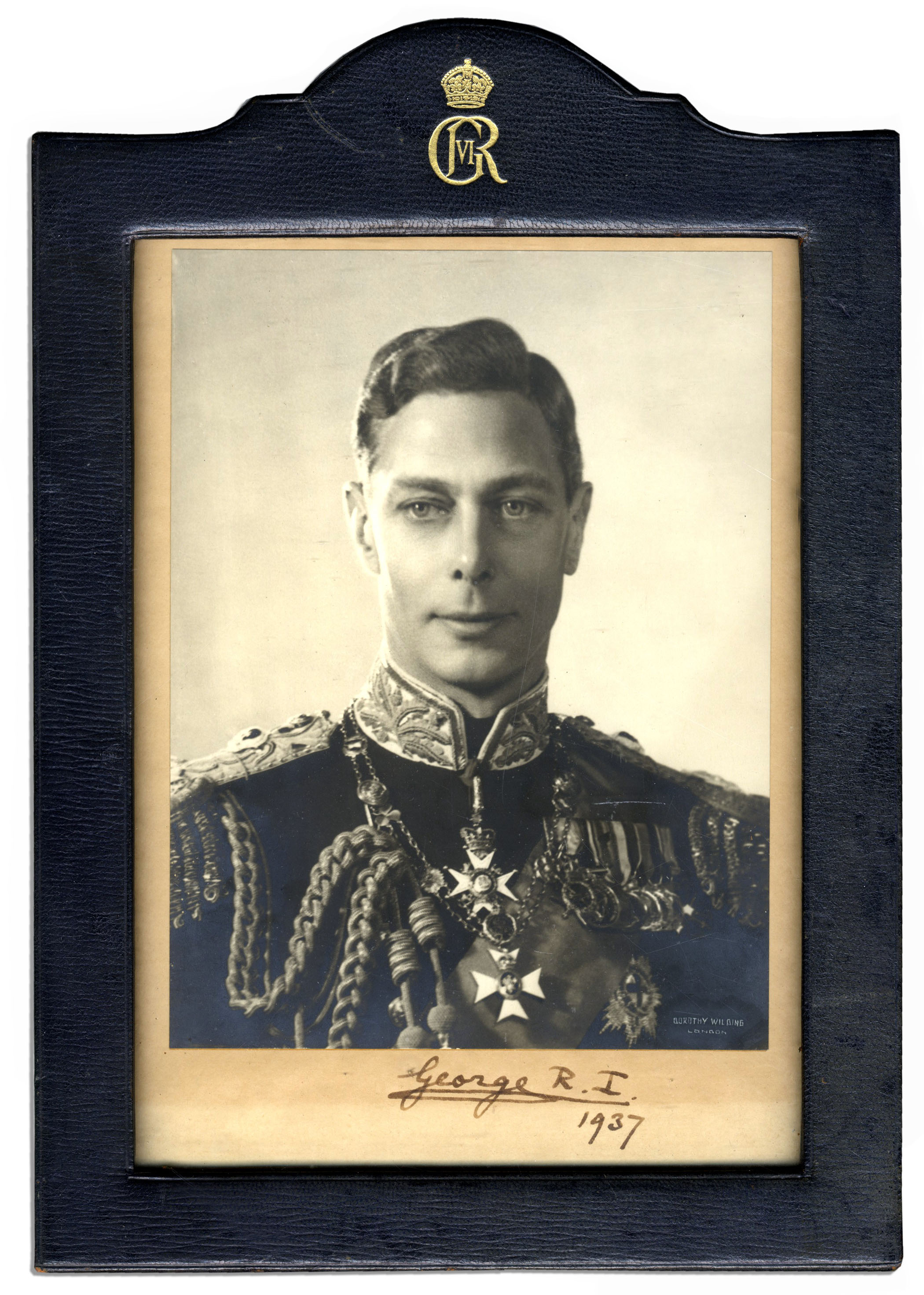 King George Memorabilia George VI Signed Photo in Royal Cypher Frame -- 1937 as King