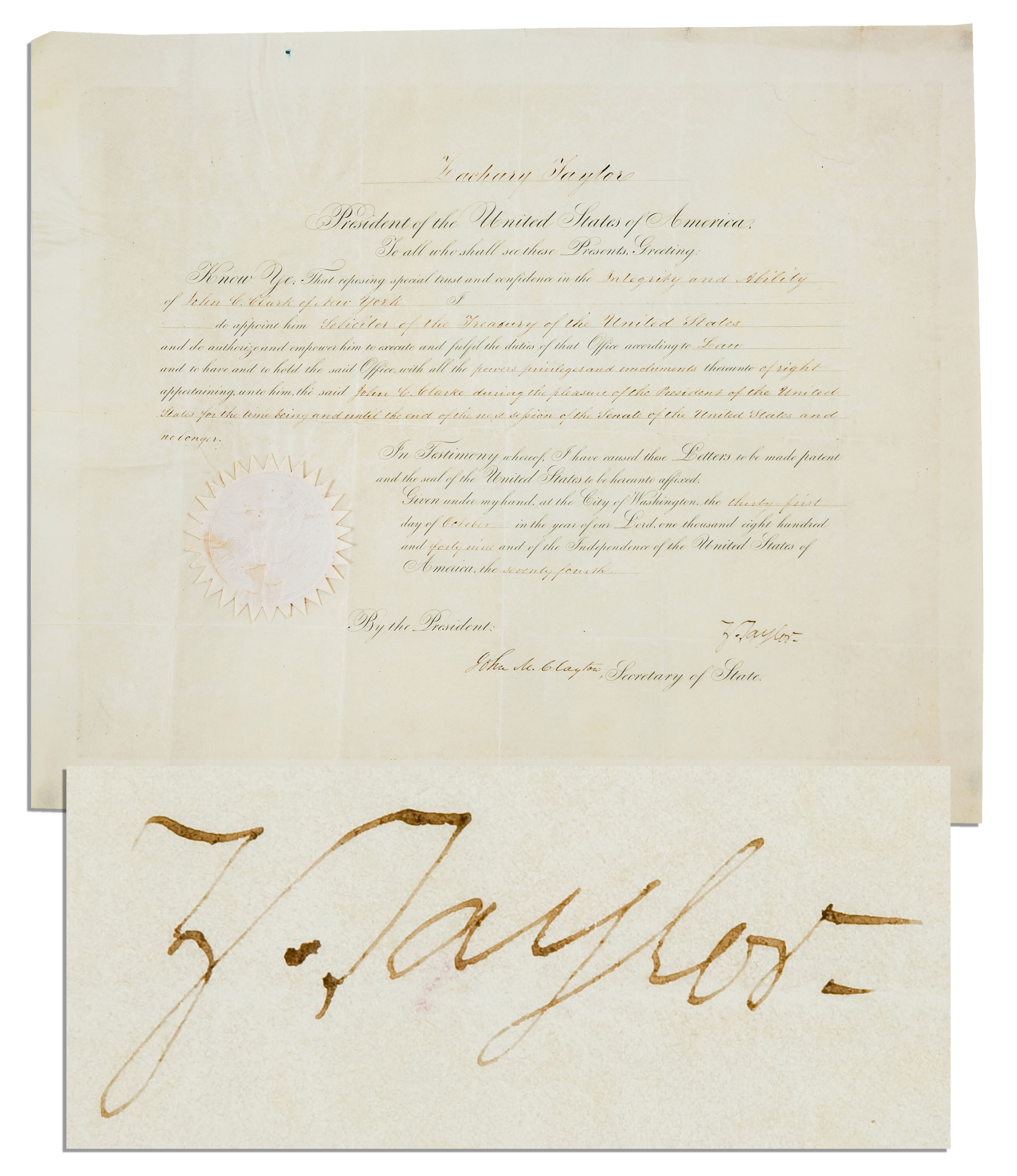Zachary Taylor Autograph Zachary Taylor 1849 Treasury Appointment Signed as President -- Third Rarest Presidential Signature