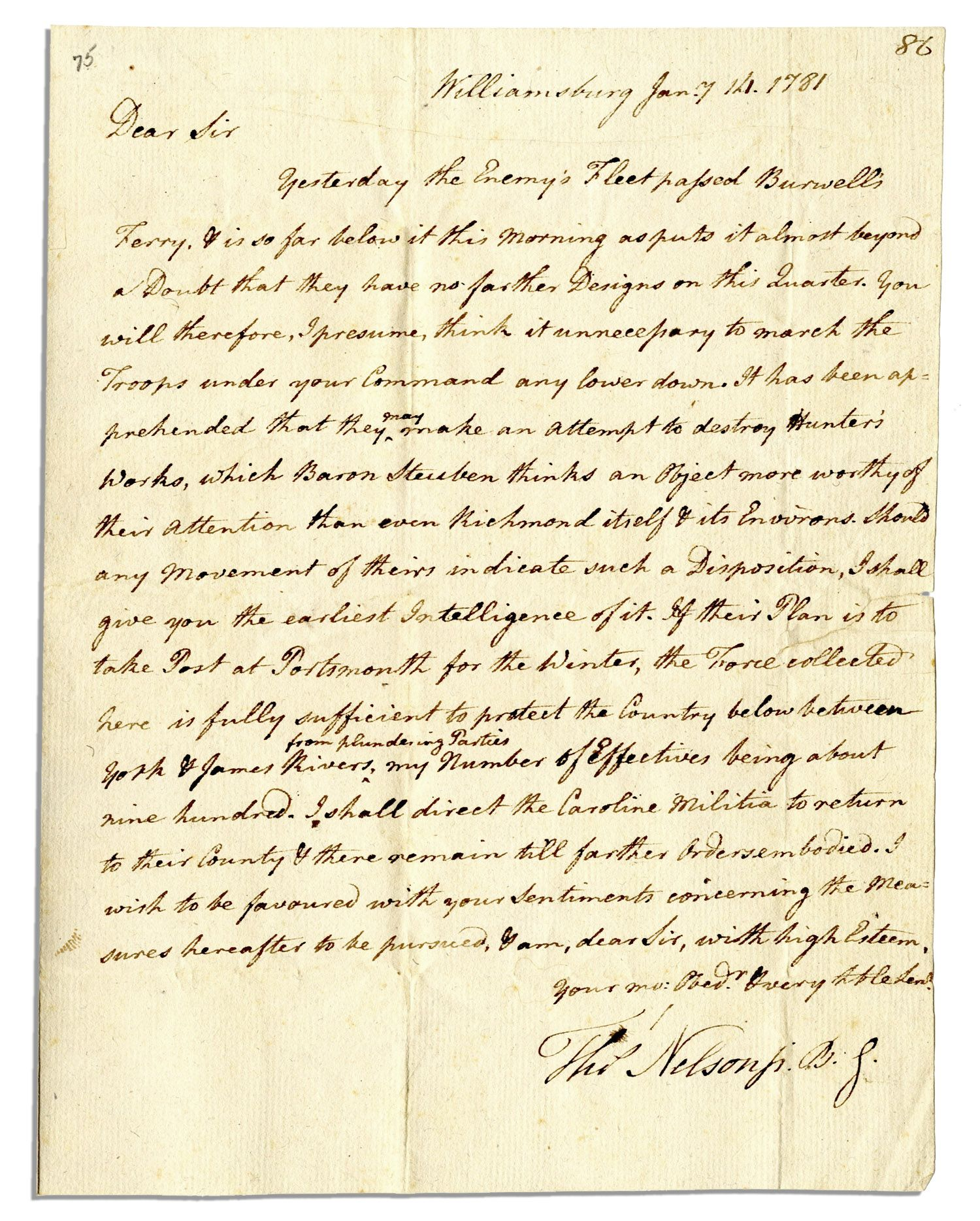 Thomas Nelson autograph Thomas Nelson Signed Letter on Benedict Arnold's Whereabouts at the Beginning of the Virginia Campaign That Would Lead to Yorktown -- ''...Yesterday the enemy's fleet passed Burwell's Ferry...''
