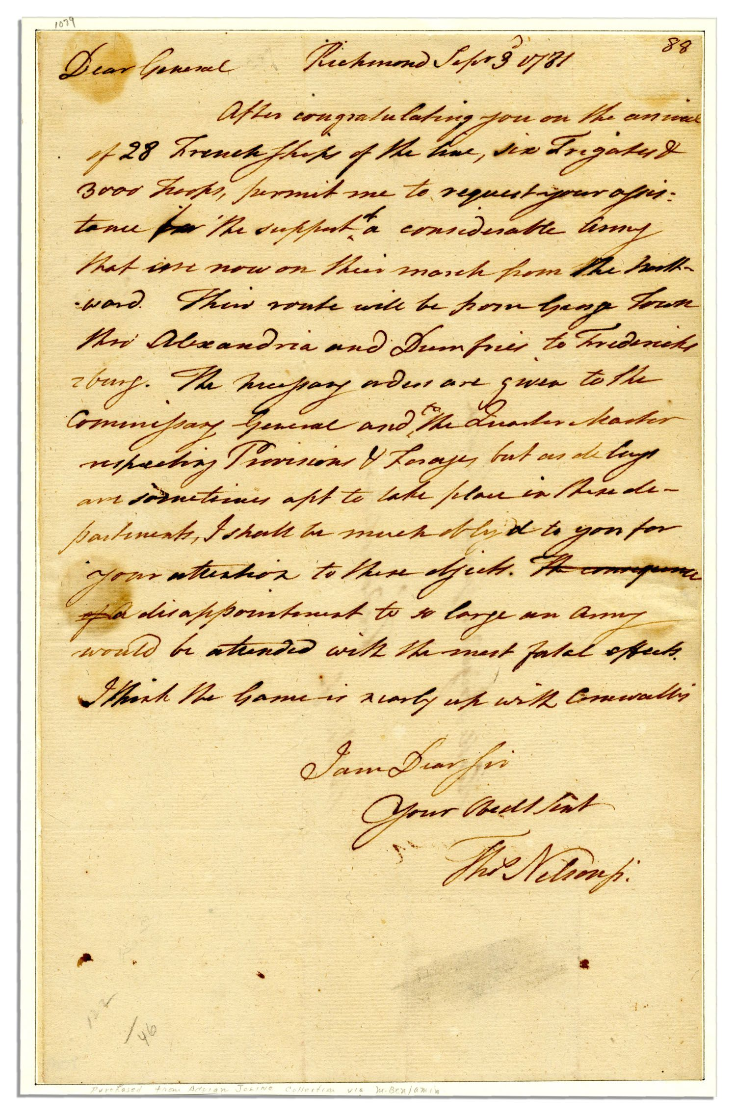 Thomas Nelson autograph Lot #36: Rare Declaration Signer & Virginia Gov. Thomas Nelson Autograph Letter Signed One and a Half Months Before the Yorktown Surrender -- ''...I think the game is nearly up with Cornwallis...'' -- 1781