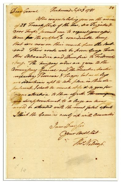 Rare Declaration Signer & Virginia Gov. Thomas Nelson Autograph Letter Signed One and a Half Months Before the Yorktown Surrender -- ''...I think the game is nearly up with Cornwallis...'' -- 1781
