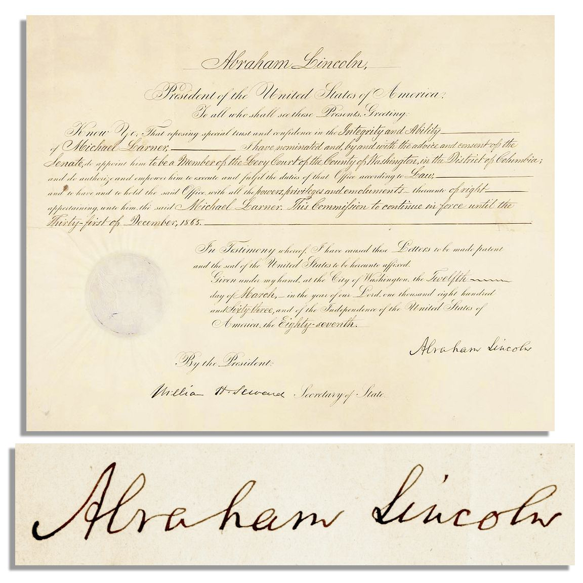 Fantastic Lot Detail Abraham Lincoln Document Signed As President 12 Short Hairstyles Gunalazisus