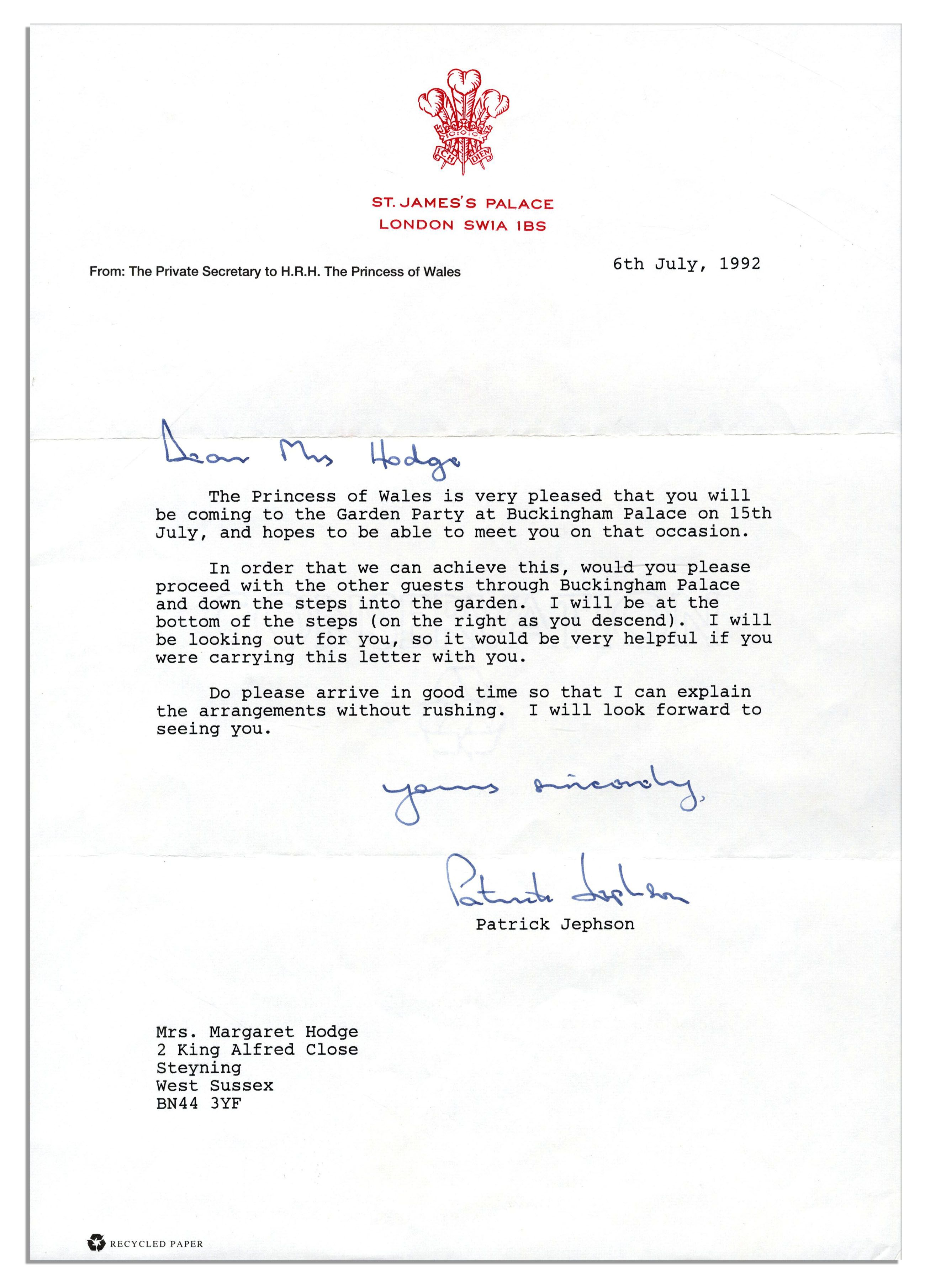How To For Dummies Princess Diana 1992 Autograph Letter Signed '' Always  Lots Lot Detail