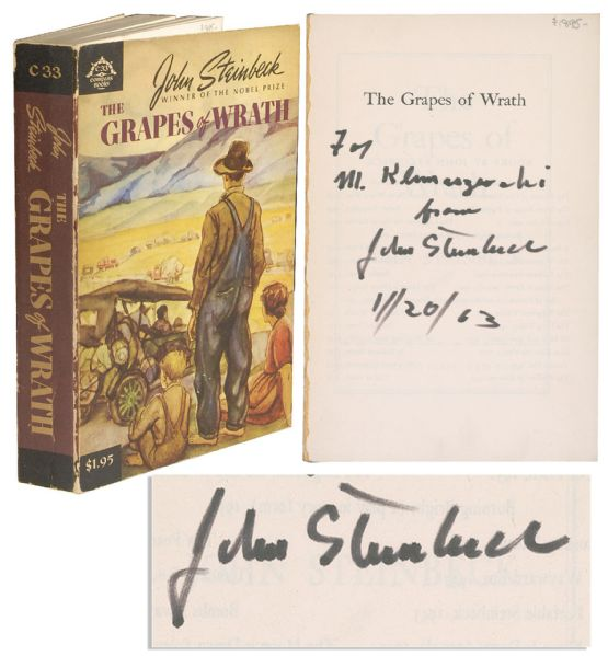 John Steinbeck first edition John Steinbeck Signed Copy of ''The Grapes of Wrath'' -- Fine Piece of American Literature Signed by the Author the Year After He Won the Nobel Prize