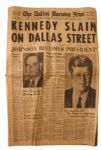 Historic The Dallas Morning News From Morning After JFK Assassination Stunned the World -- Headlines Include Johnson Becomes President and Pro-Communist Charged With Act