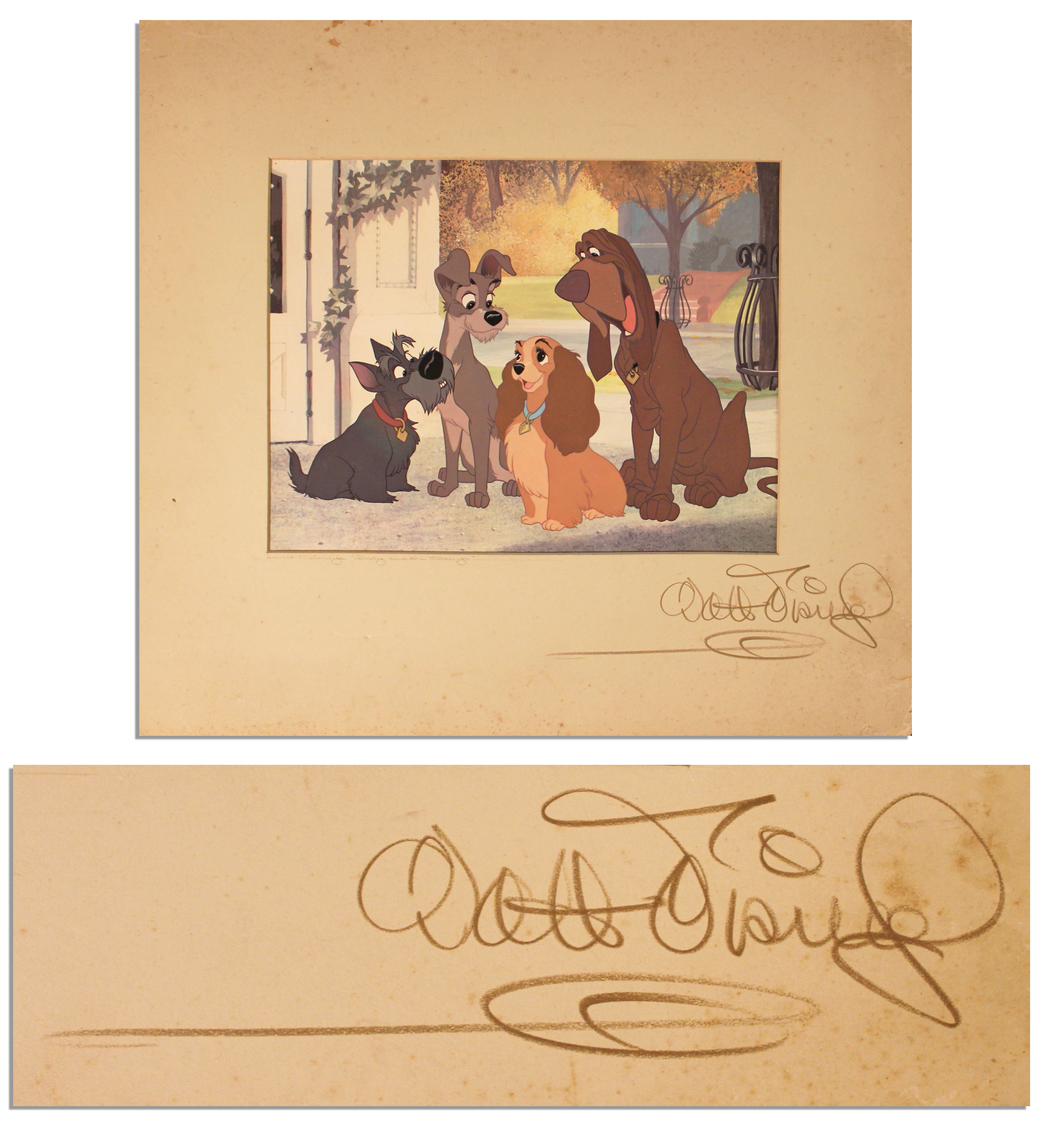 Walt Disney Autograph Walt Disney Signed Reproduction Cel of ''Lady and the Tramp'' -- With Phil Sears COA