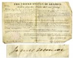 James Monroe Signs a Vellum Land Grant Document as President -- 1823