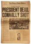 JFK Assassination Newspaper -- Dallas Times Herald -- 22 November 1963 -- PRESIDENT DEAD, CONNALLY SHOT