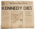 Robert Kennedys Death Announced in The Dallas Times Herald Newspaper