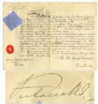 Queen Victoria 1887 Document Signed -- 50th Year of Her Reign
