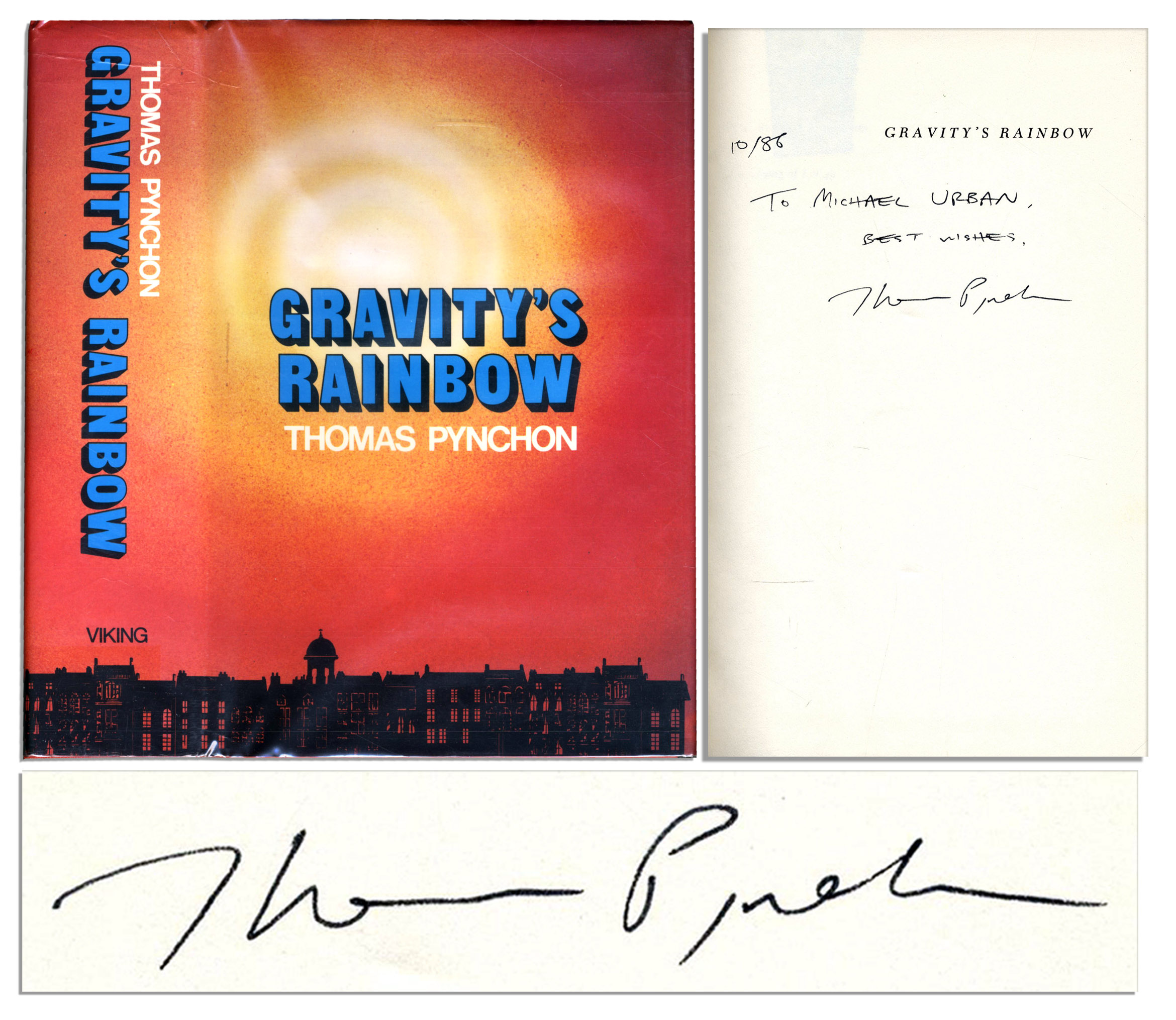 Thomas Pynchon autograph The Great Rarity of the Signed Book Trade -- A Thomas Pynchon ''Gravity's Rainbow'' Autographed 1st Edition, 1st Printing -- With PSA/DNA COA