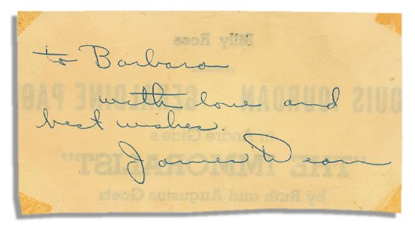 1954 James Dean Inscription & Autograph -- Just a Year Before His Notoriously Tragic Death -- With PSA/DNA