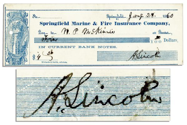 1860 Check Written and Signed by Abraham Lincoln -- Year of His Successful Campaign for President