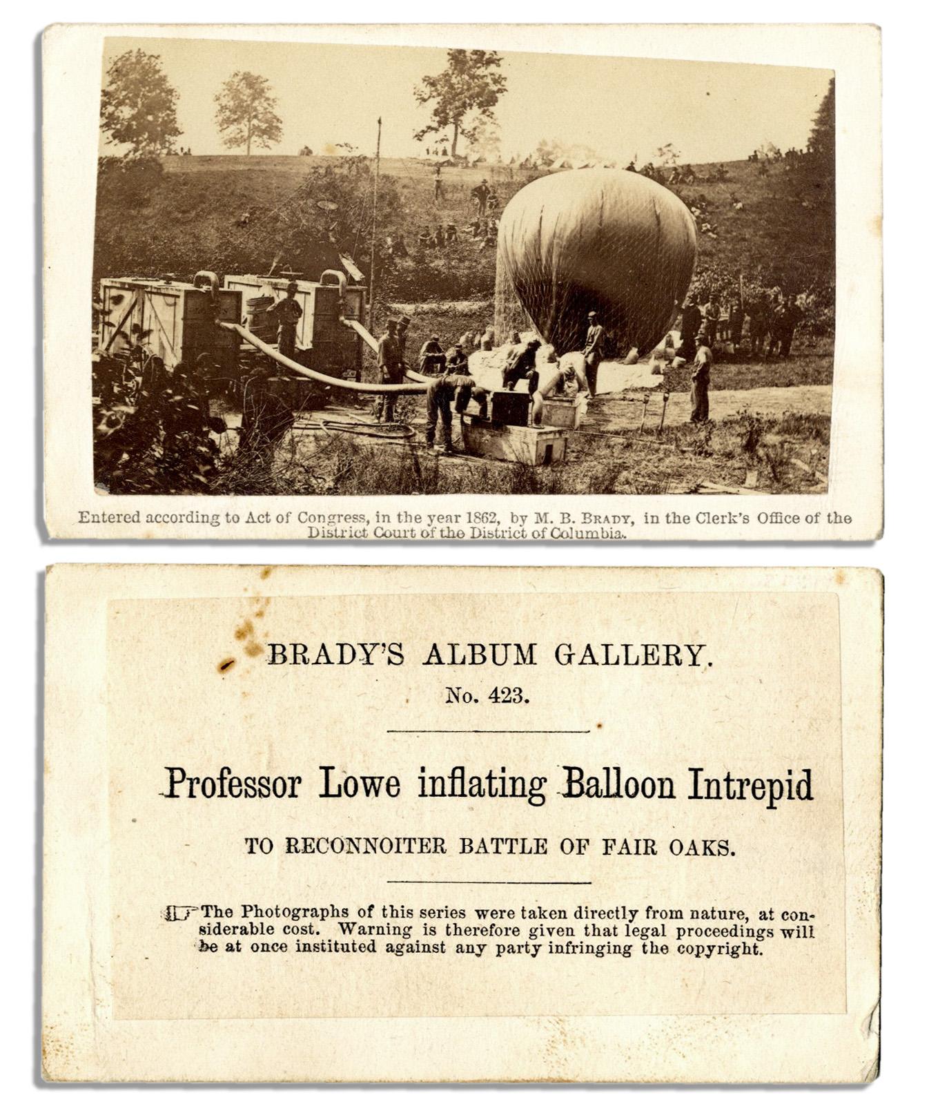 Lot Detail - Period CDV of Professor Lowe's Spy Balloon