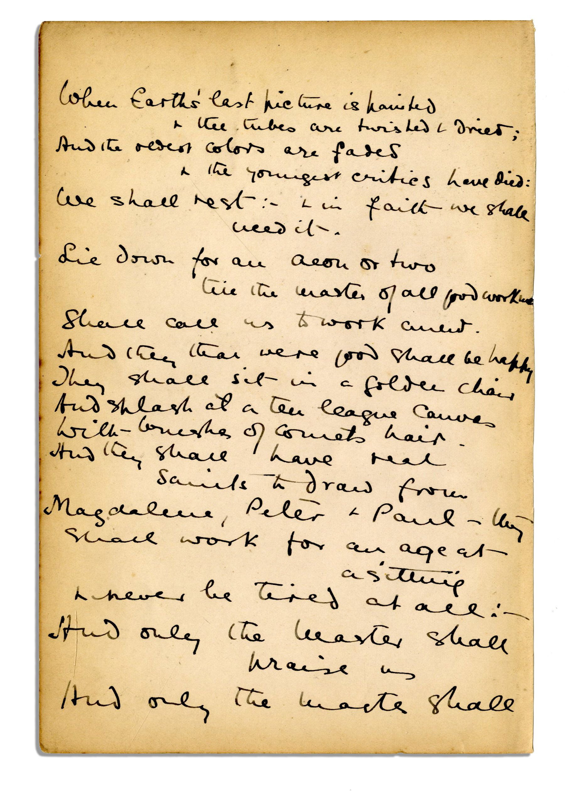 Lot Detail Rudyard Kipling Signed Handwritten Poem