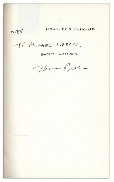 Red Harvest 1st Edition The Great Rarity of the Signed Book Trade -- A Thomas Pynchon ''Gravity's Rainbow'' Autographed 1st Edition, 1st Printing -- With PSA/DNA COA