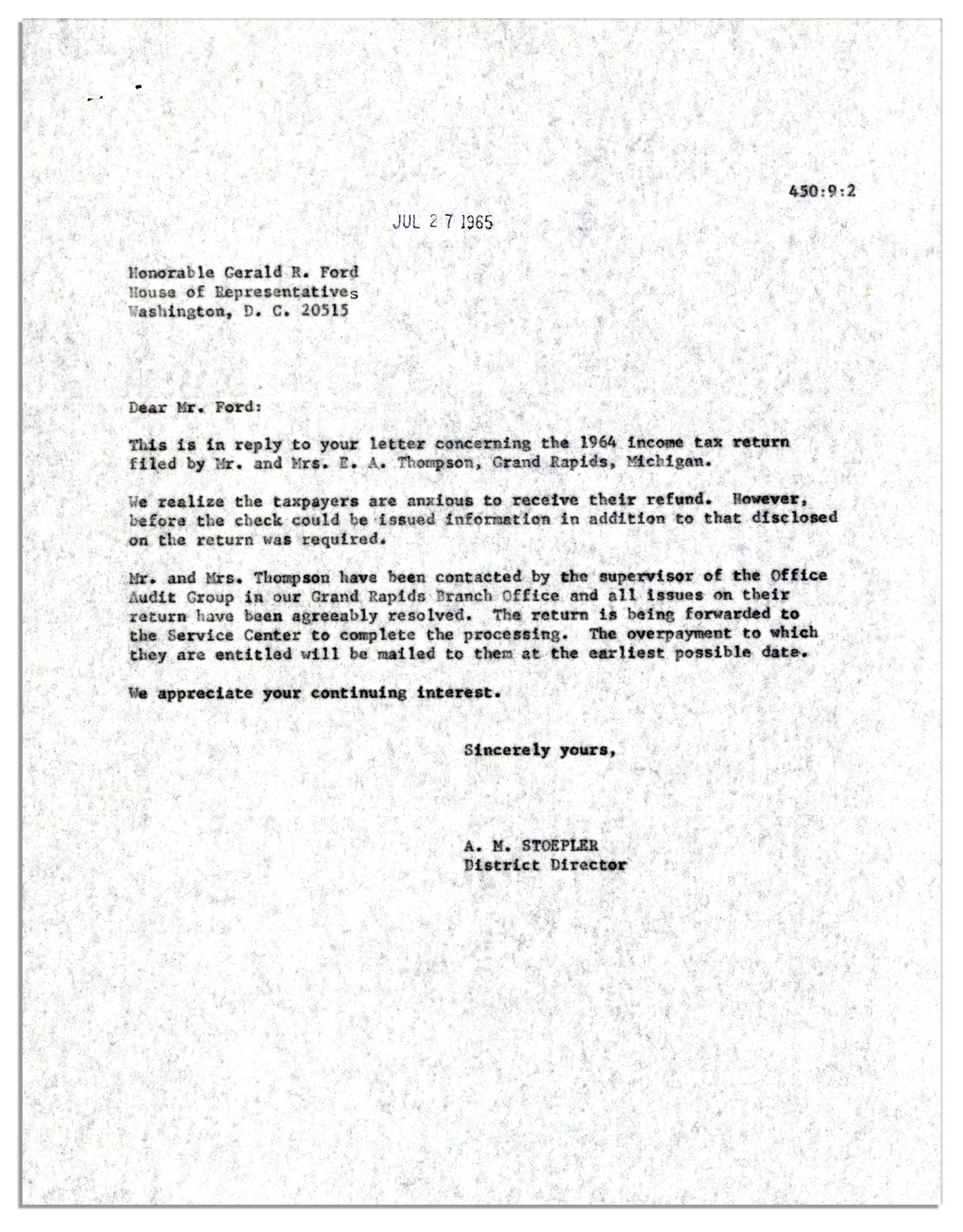 Lot Detail - Gerald Ford 1965 Typed Letter Signed as House