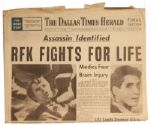 Robert F. Kennedy Assassination Newspaper Announces Assassin Identified The Day He Was Shot -- Dallas Times Herald From 5 June 1968