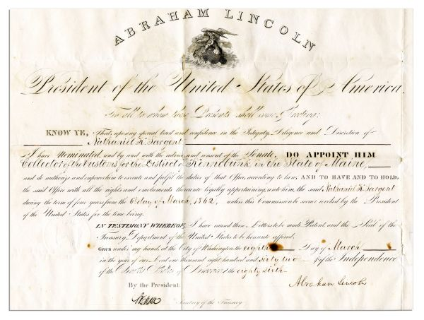 Abraham Lincoln Document Signed During the Civil War -- 1862