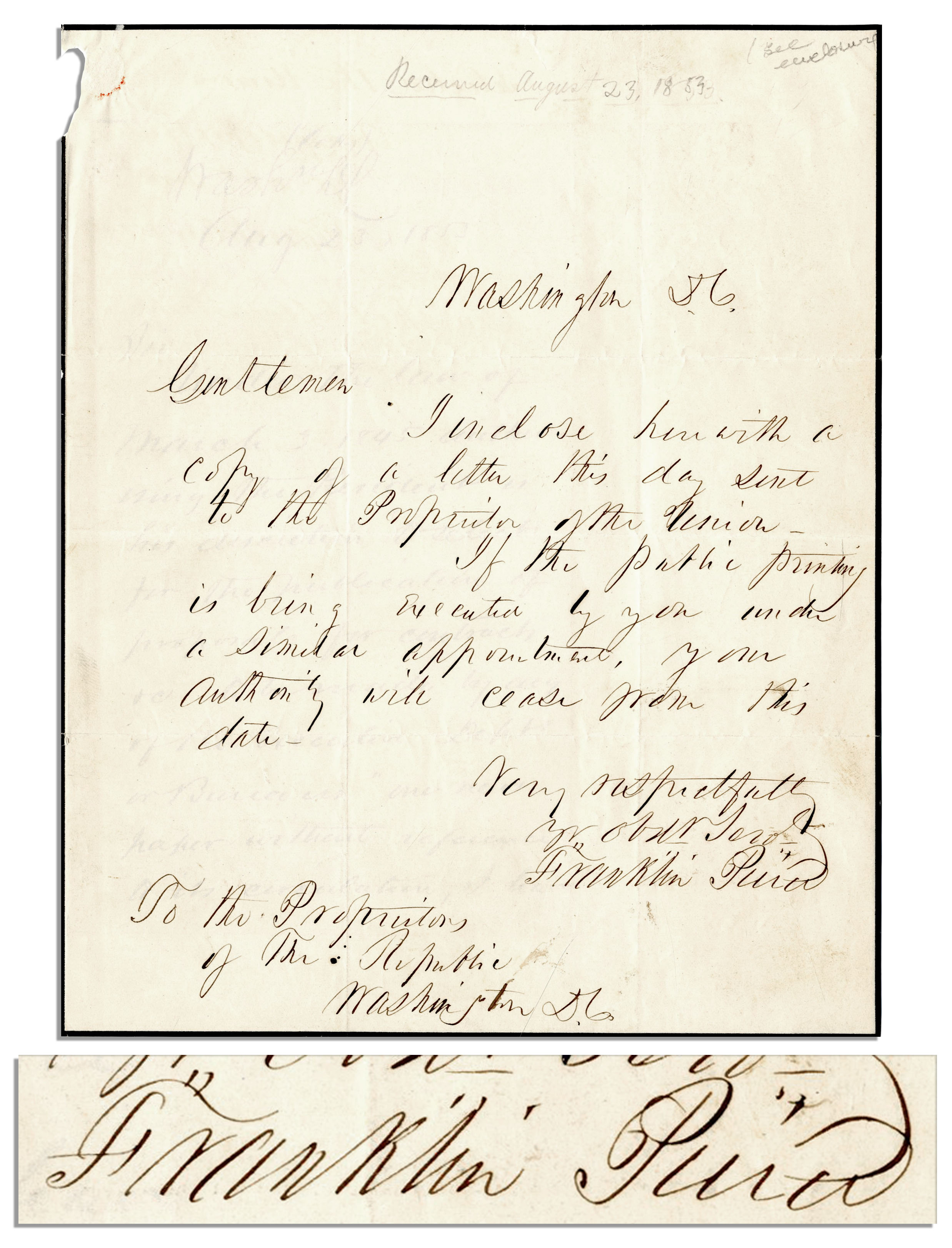 letter to president pierce essay This reading is a letter from chief seattle a native-american to president pierce in this letter the native american is concerned about the treatment of the land by the white man.