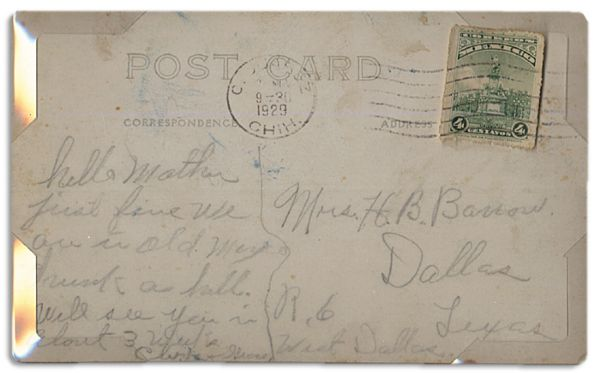 Al Capone Autograph Clyde Barrow Autograph Note Signed -- Infamous Gangster Sends a Postcard to His Mother -- ''...hello mother - just fine. We are...drunk as hell...'' -- With JSA COA