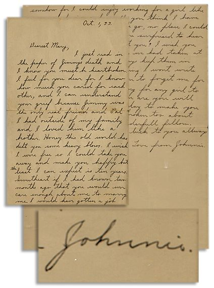 Al Capone Autograph Astonishing John Dillinger Autograph Letter Signed Regarding Letter -- ''...Sweetheart if I had known two months ago that you would ever care enough about me to marry me I would have gotten a job...'' -- With JSA COA