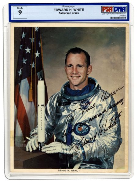 Rare Astronaut Edward White Signed 8'' x 10'' Photo -- With PSA/DNA COA -- Strong, Bold Signature