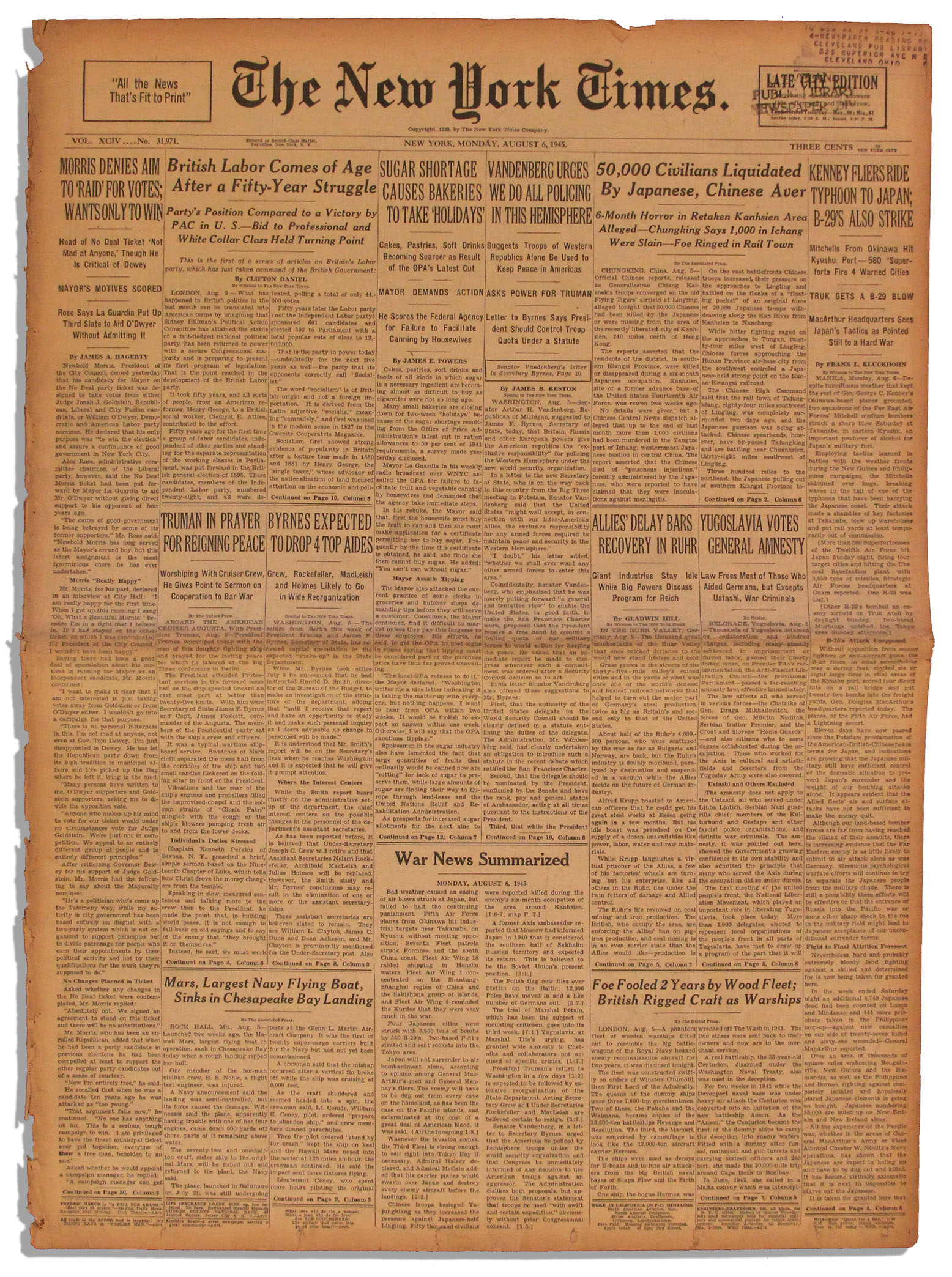 WWII ''New York Times'' Newspaper From 6 August 1945 -- The