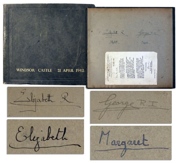 Queen Elizabeth Autograph Scarce Set of 1942 Autographs by the British Royal Family -- King George IV, His Wife & Princesses Elizabeth & Margaret Sign in Record Album of Special BBC Performance at Windsor Castle