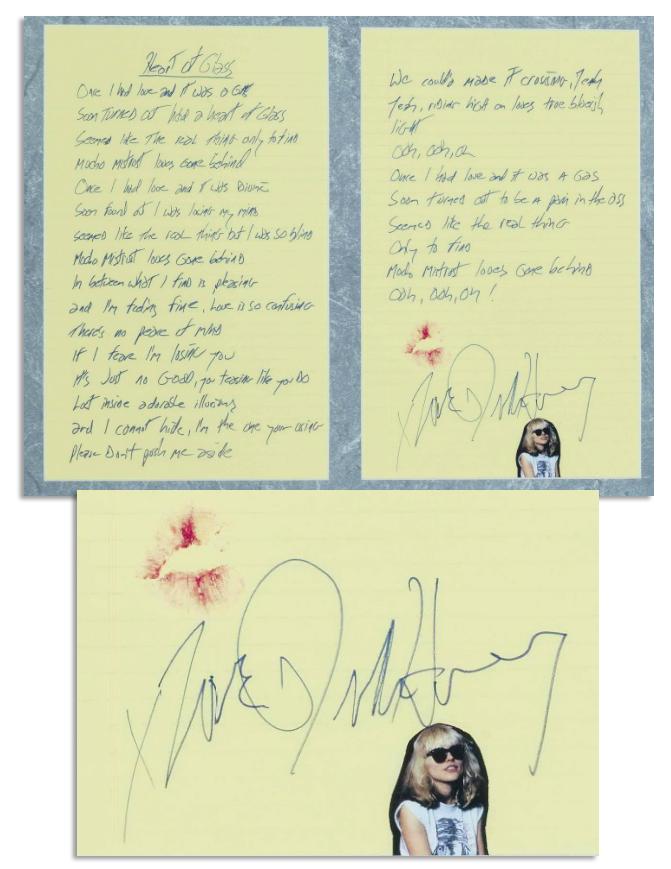 40ae0cea1012 Blondie   Heart of Glass   Lyrics Handwritten by Debbie Harry -- Signed ...