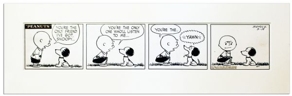 Original 1953 ''Peanuts'' Strip Hand-Drawn by Charles Schulz -- Featuring Charlie Brown & Snoopy