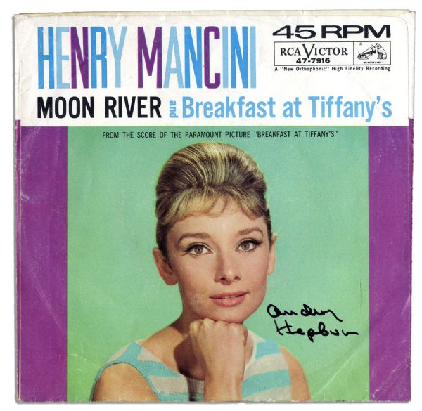 Audrey Hepburn Autograph ''Moon River'' Record Cover -- Her Memorable ''Breakfast at Tiffany's'' Song -- With JSA COA